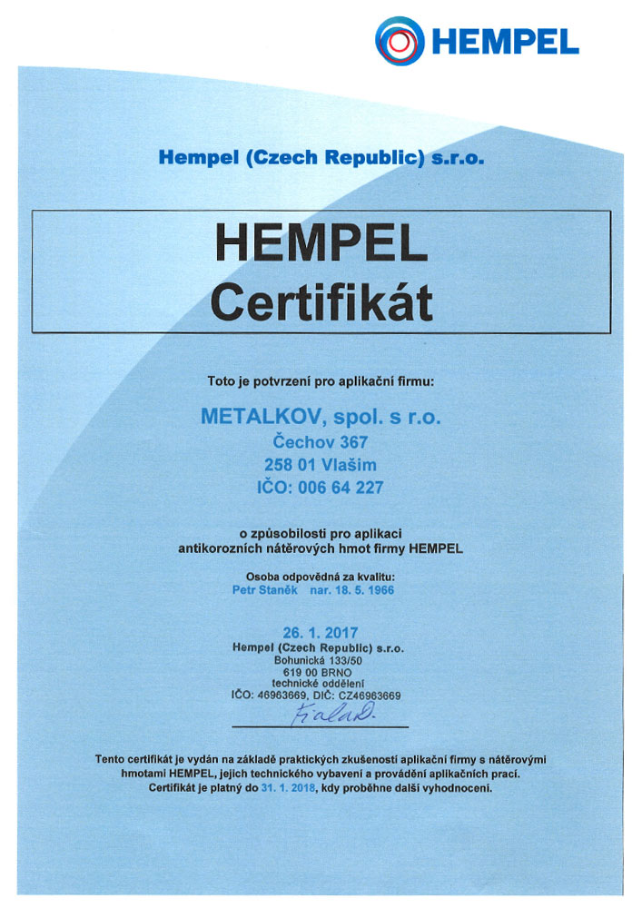 Certificates Metalkov